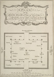 A PLAN of the ROYAL EXCHANGE of LONDON Shewing the several Walks, or Places of Resort, usually frequented by the different Merchants, Traders &c. of this great Metropolis
